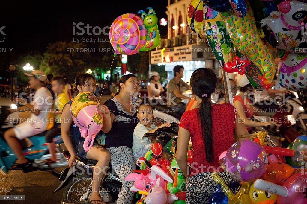 Balloons for sale in Hanoi's Old Quarter, Vietnam stock photo