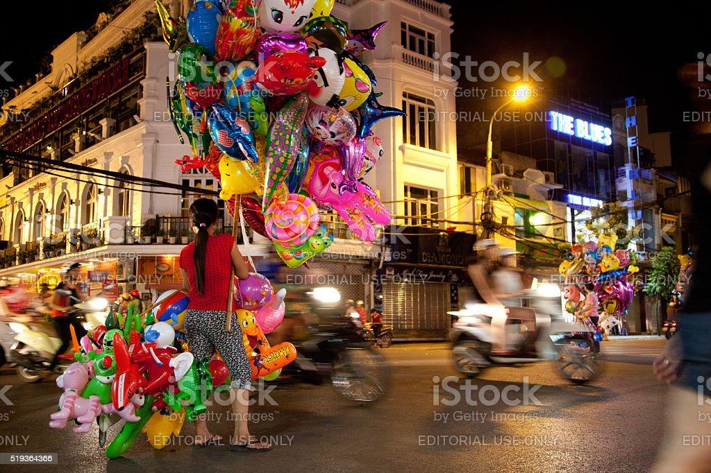 Balloons for sale in Hoan Kiem, Hanoi, Vietnam stock photo