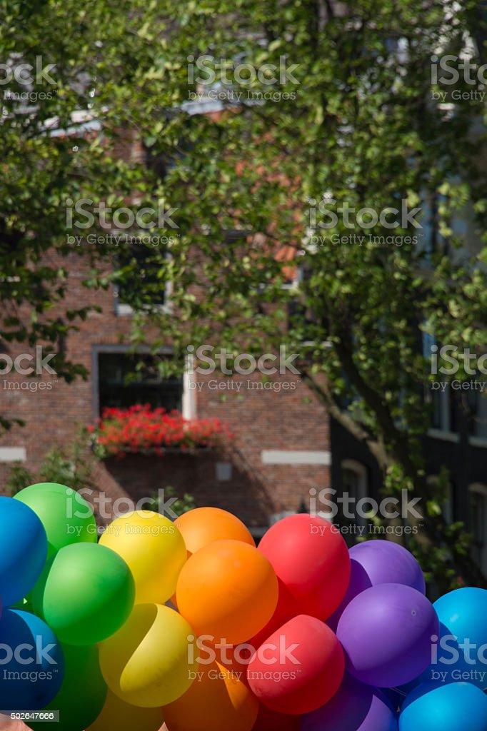 Balloons forming the gay rainbow flag stock photo