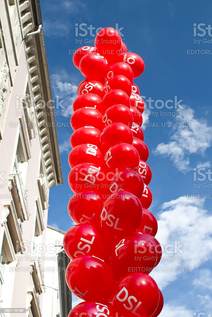 Balloons in front of a Vodafone shop stock photo