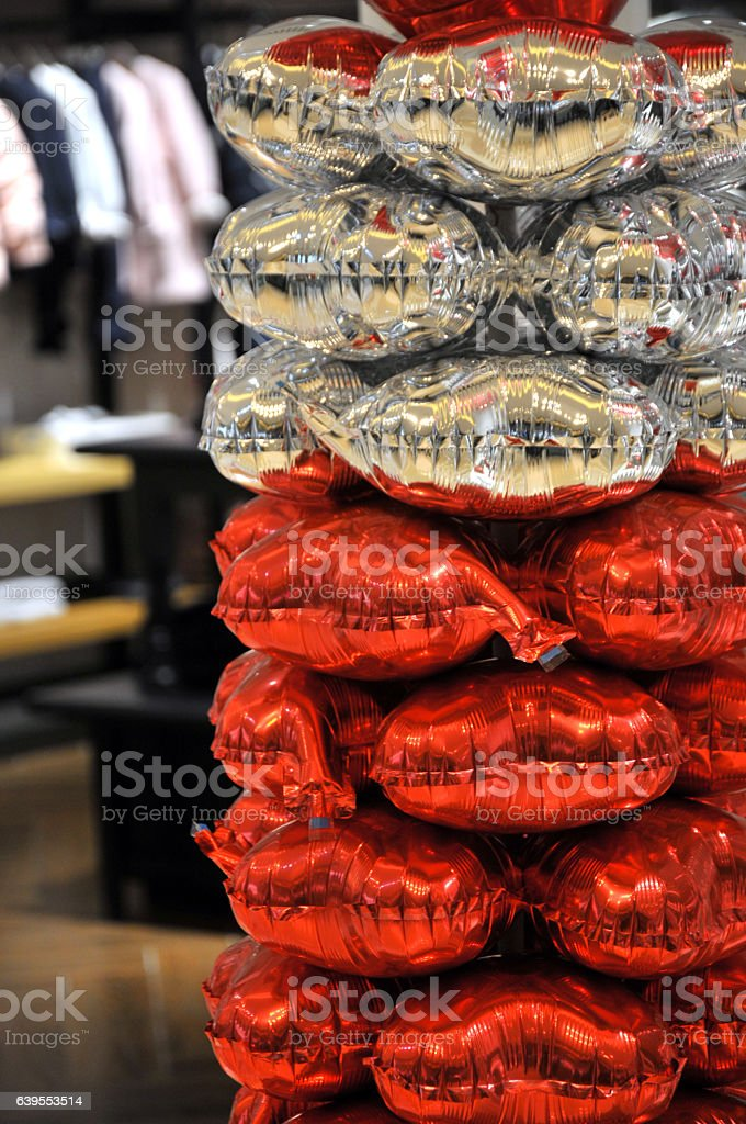 Balloons in mall stock photo