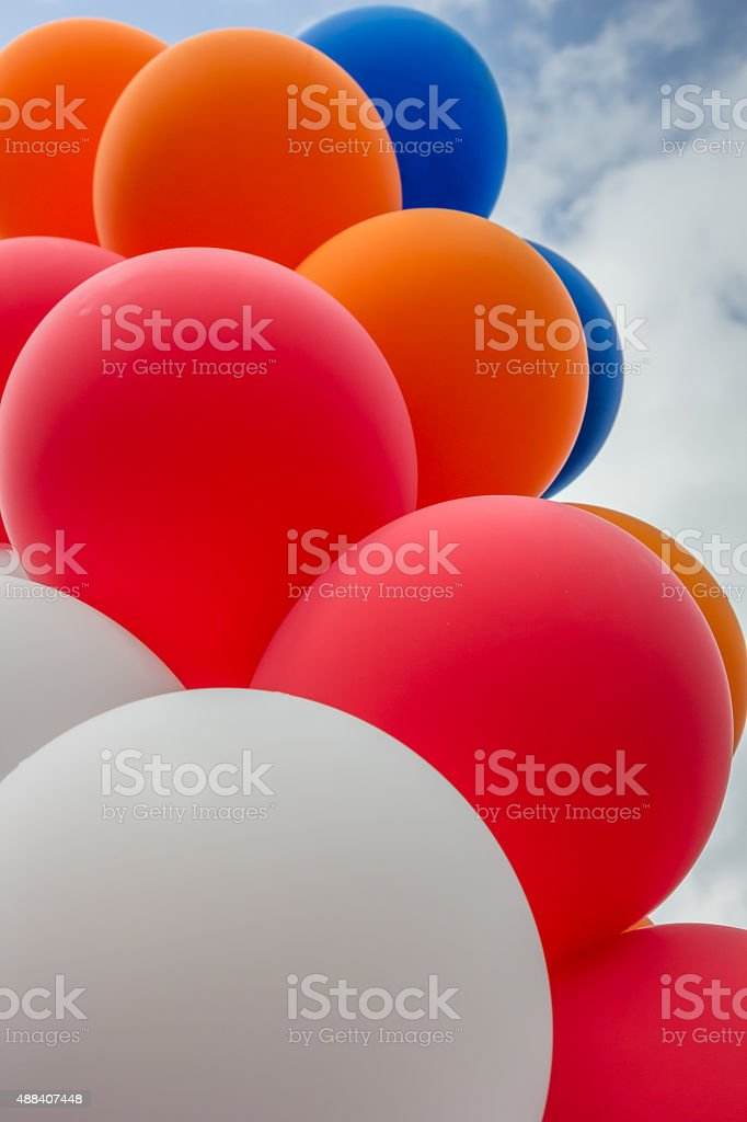 Balloons in the colors of the dutch flag stock photo