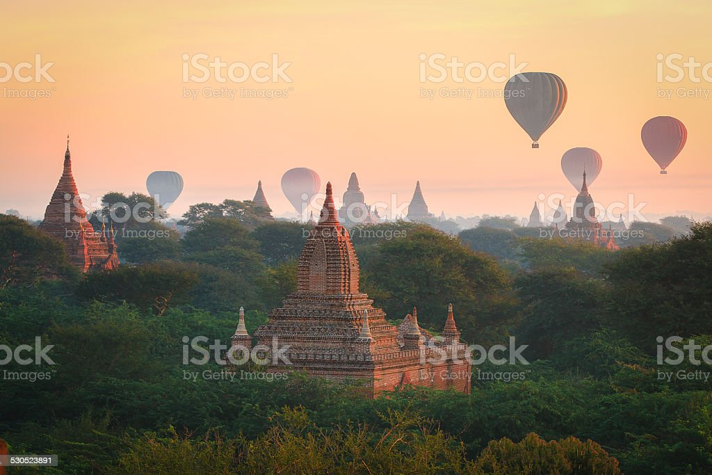 Balloons over Bagan, Myanmar stock photo