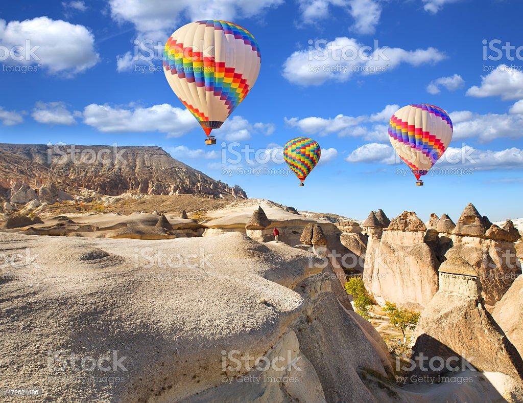 Balloons over Cappadocia. stock photo
