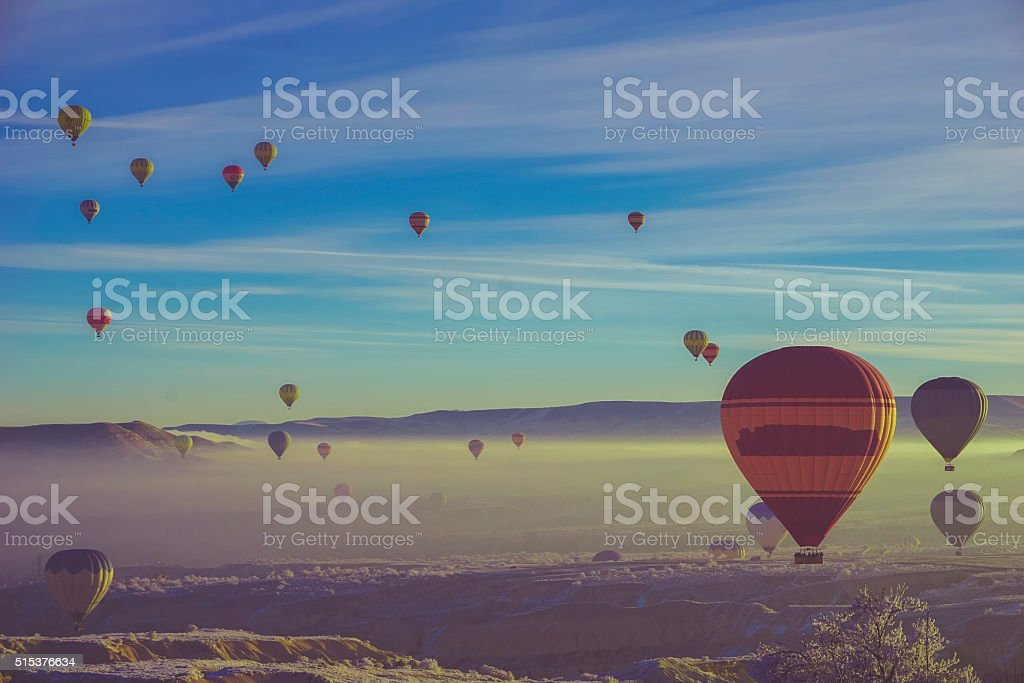 Balloons over Cappadocia stock photo