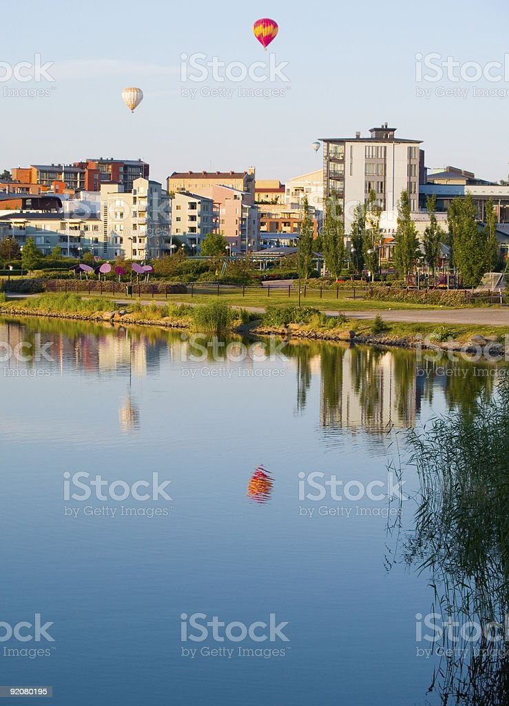 Balloons over city 1 royalty-free stock photo