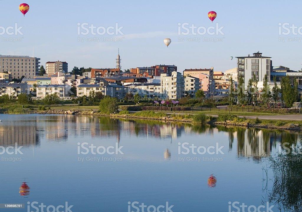 Balloons over city 2 royalty-free stock photo