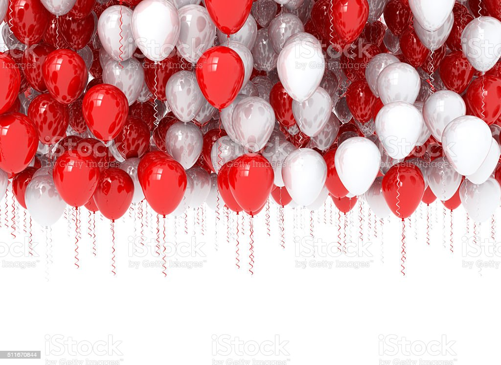 balloons red and white stock photo