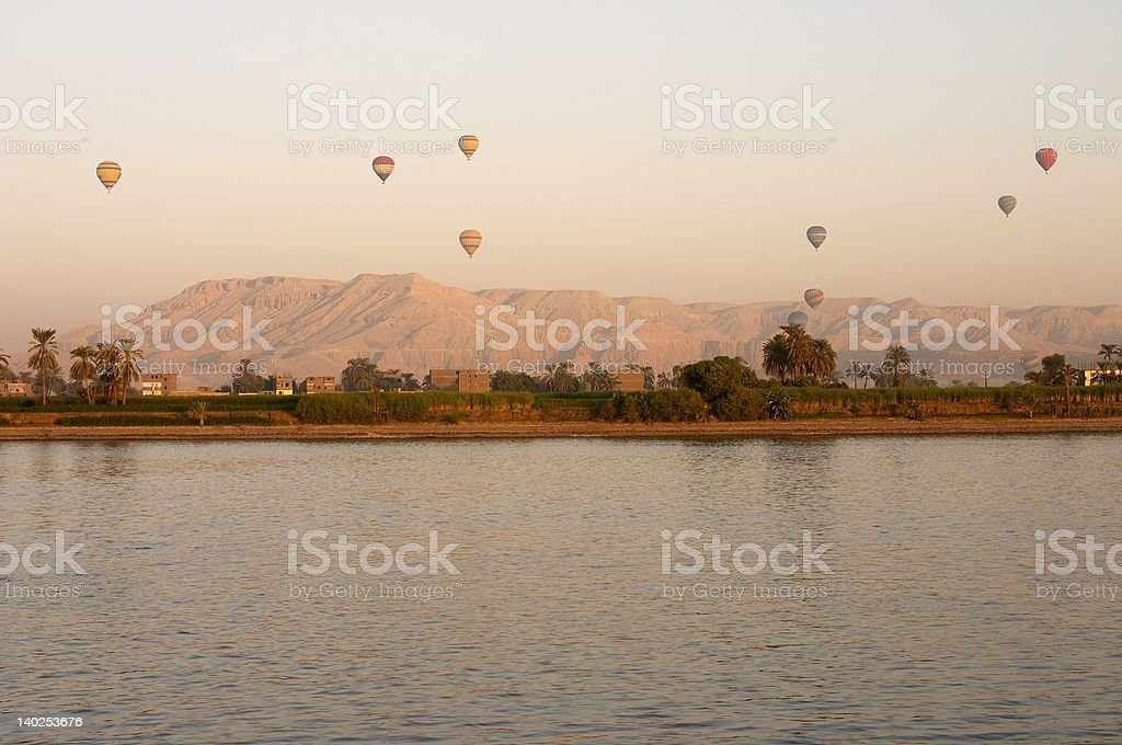 Balloons Rising,over the West Bank stock photo