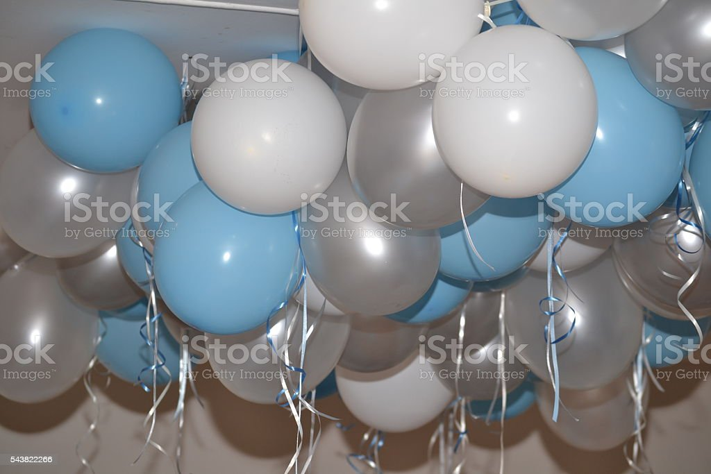 balloons silver white and blue stock photo
