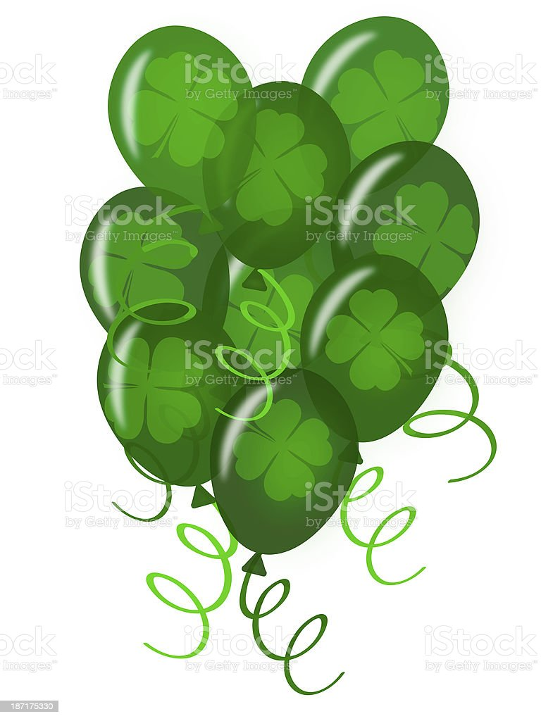 Balloons with Confetti for St. Patricks Day  Party royalty-free stock photo