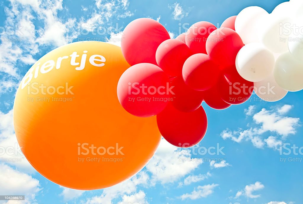 Balloons with inscription: 'Biertje' (beer) stock photo