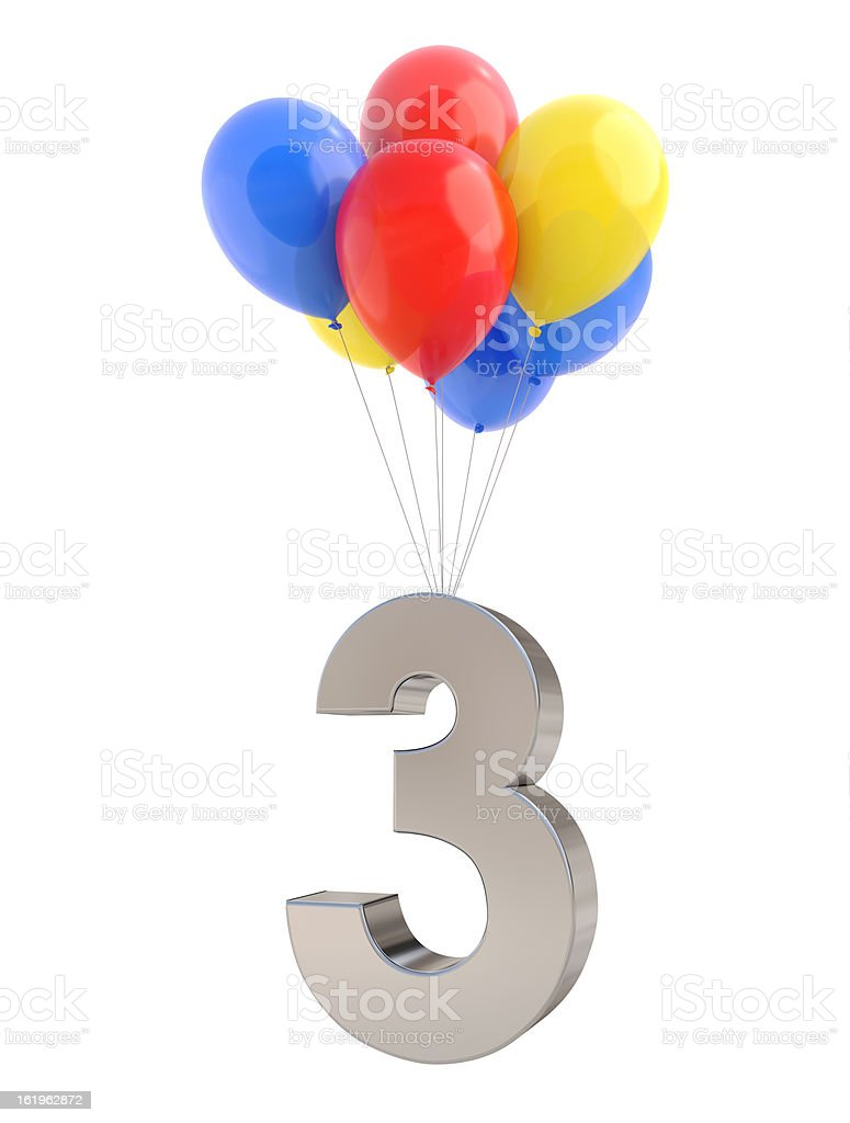 Balloons with Number 3 royalty-free stock photo