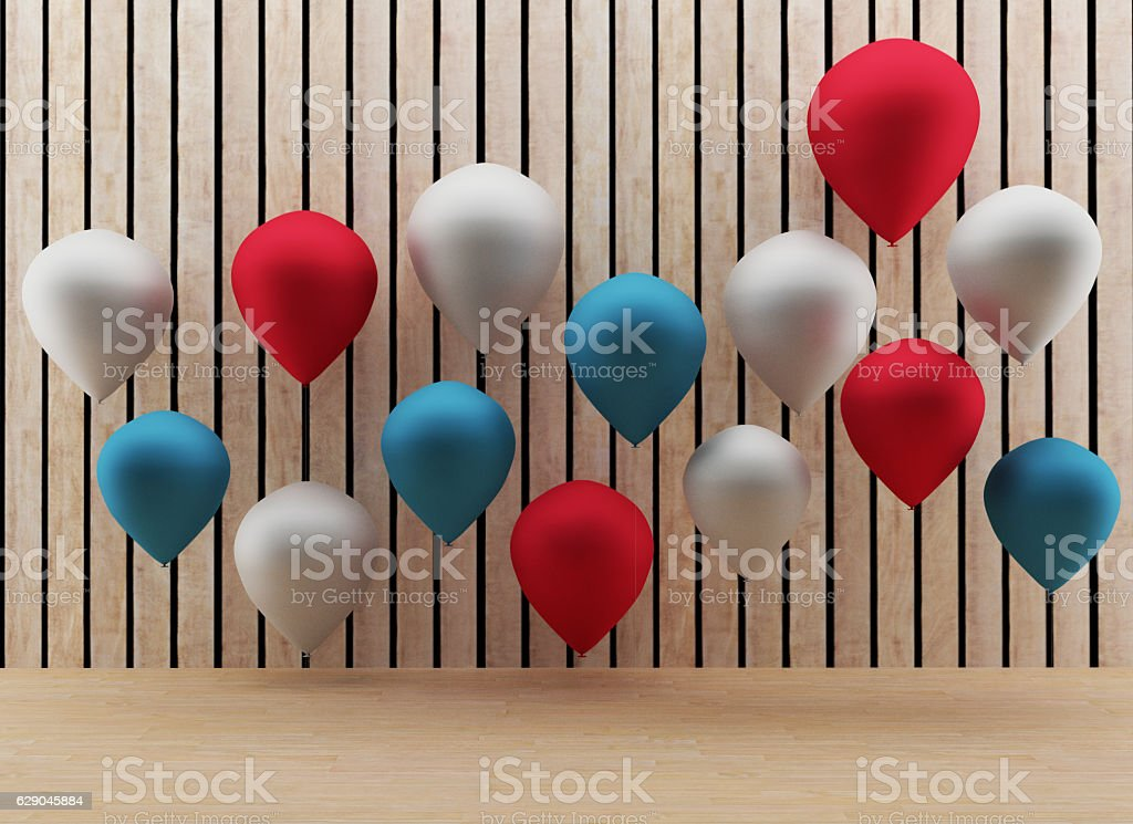 balloons with wooden room in 3D render image stock photo