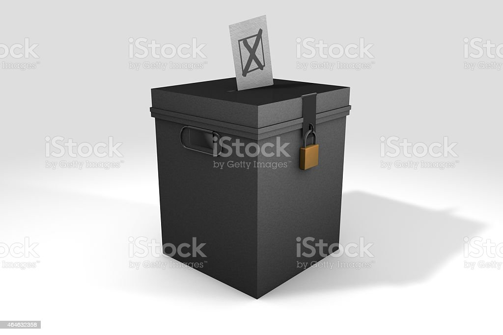 3D Ballot Box and Election Cross stock photo