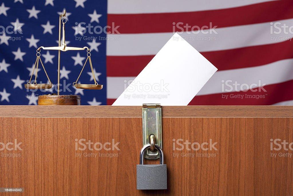 Ballot box before American Flag royalty-free stock photo