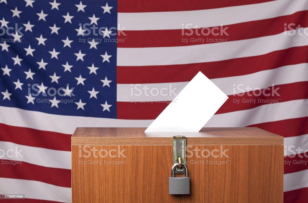 Ballot box before American Flag stock photo