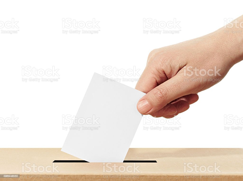 ballot box casting vote election stock photo