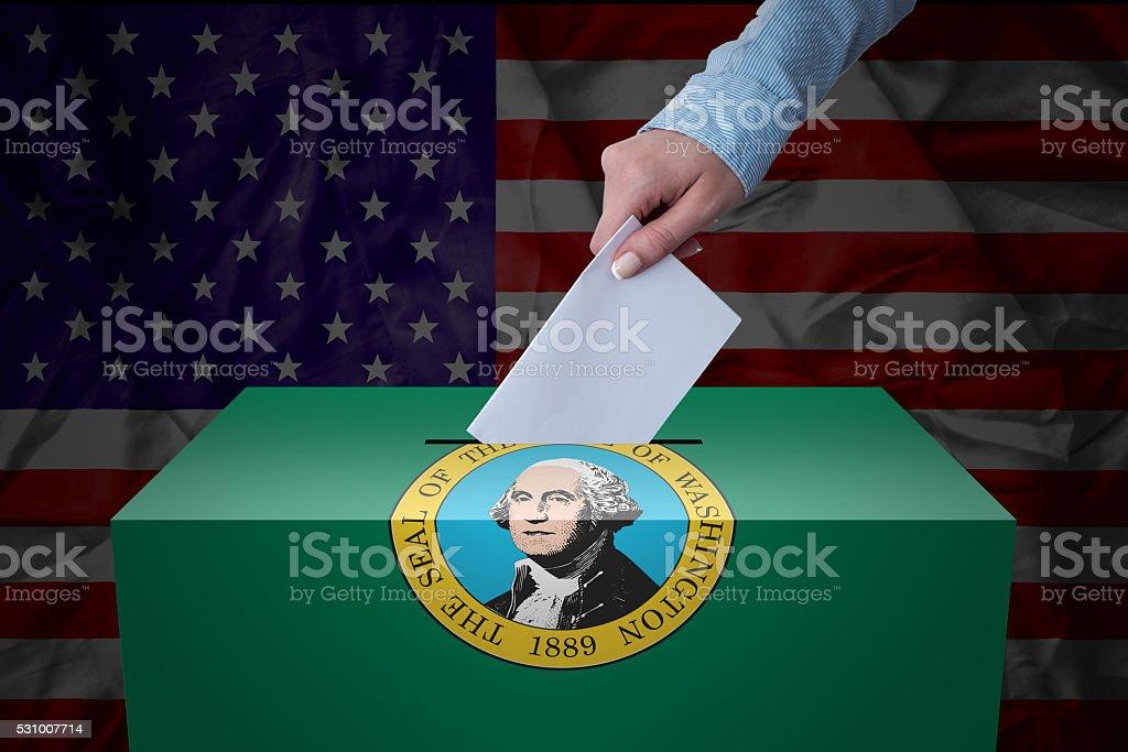 Ballot Box - Election - Washington, USA stock photo