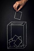 ballot box on a blackboard