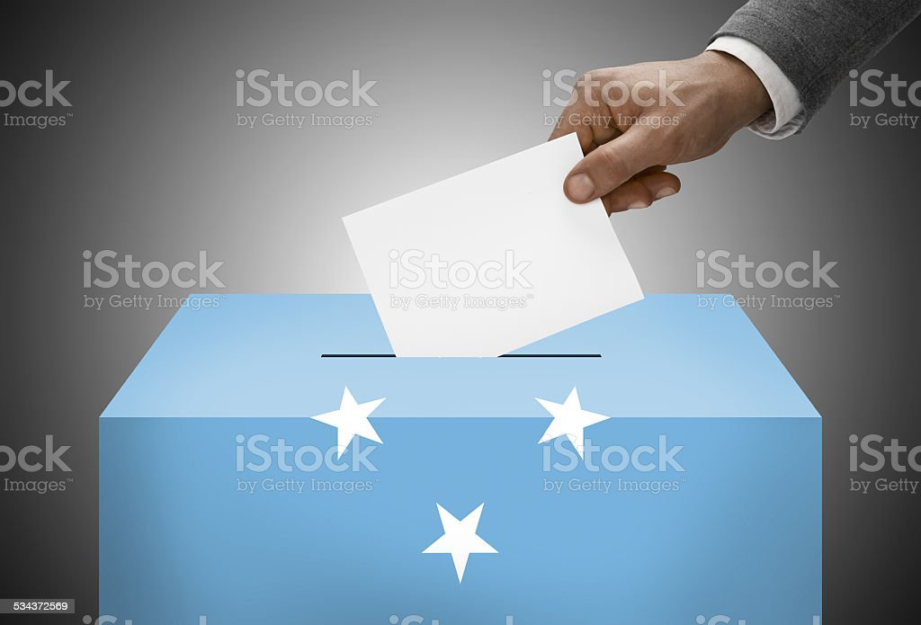 Ballot box painted as flag - Federated States of Micronesia stock photo