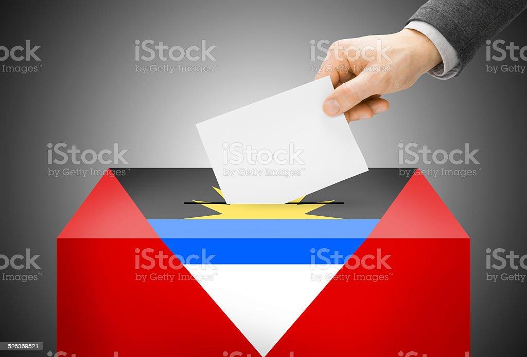 Ballot box painted as national flag - Antigua and Barbuda stock photo
