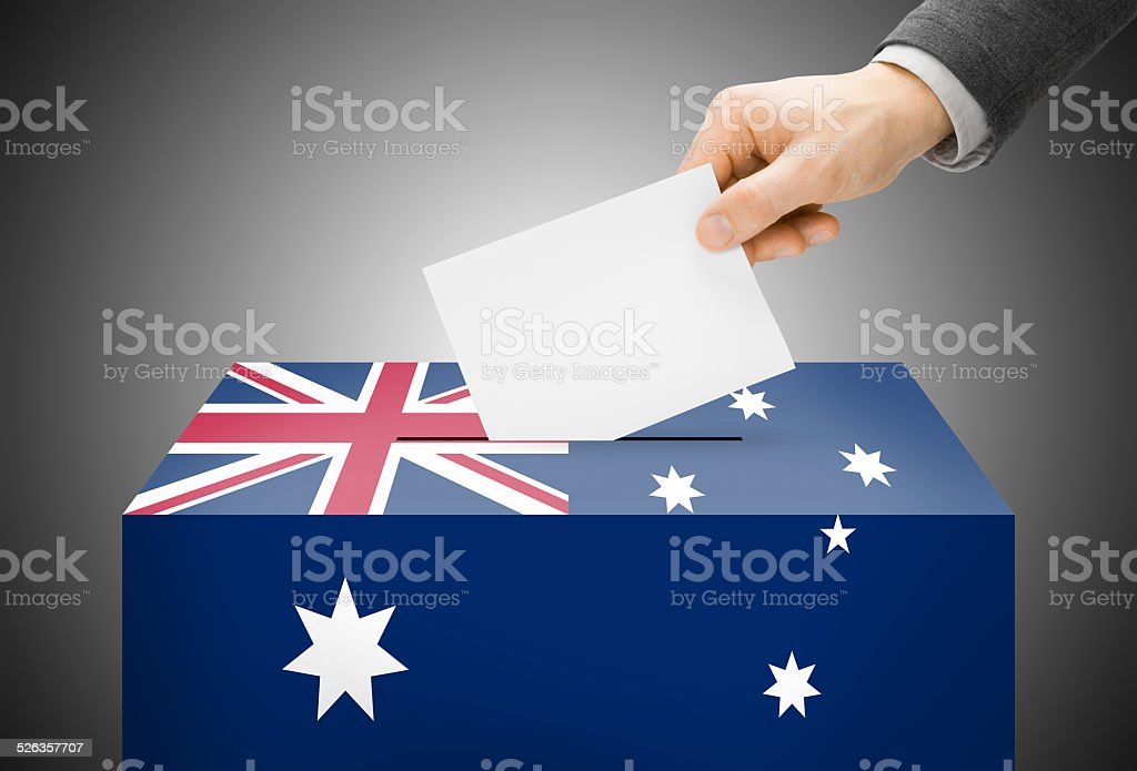 Ballot box painted into national flag colors - Australia stock photo
