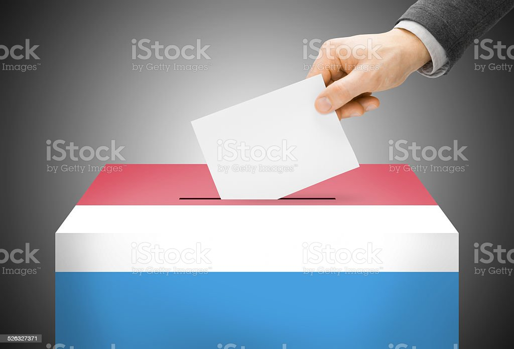 Ballot box painted into national flag colors - Luxembourg stock photo