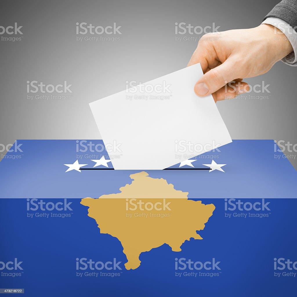 Ballot box painted into national flag - Kosovo stock photo