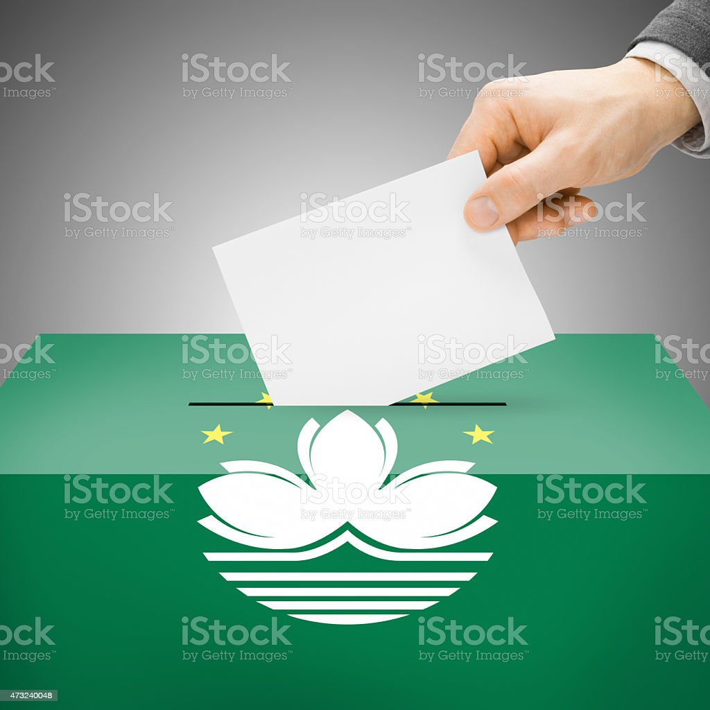 Ballot box painted into national flag - Macau stock photo