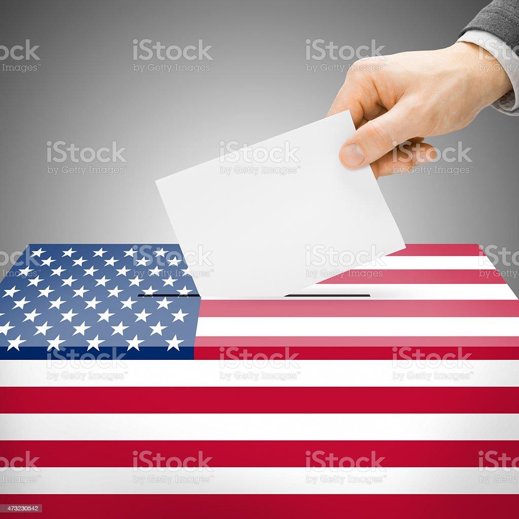 Ballot box painted into national flag - United States stock photo