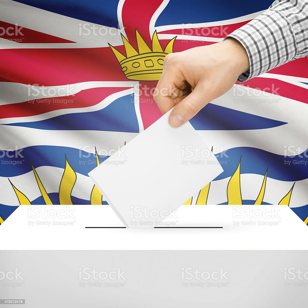 Ballot box with Canadian province flag - British Columbia stock photo