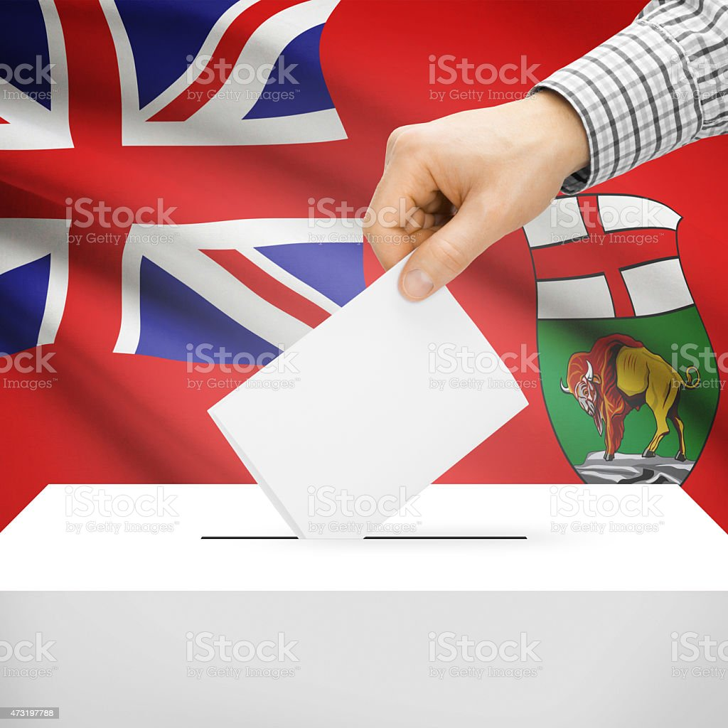 Ballot box with Canadian province flag on background - Manitoba stock photo