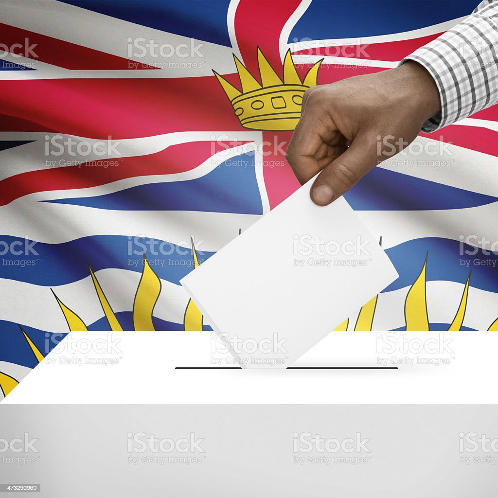 Ballot box with Canadian province flag series - British Columbia stock photo
