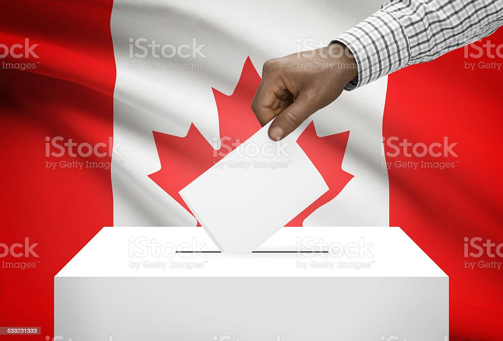 Ballot box with national flag on background - Canada stock photo