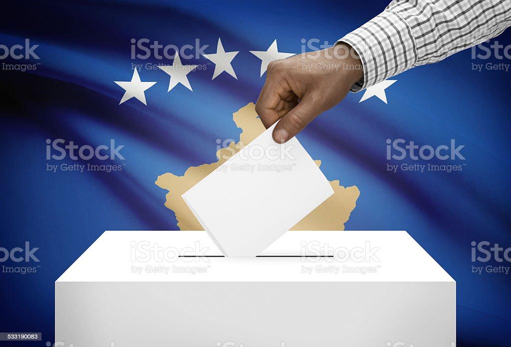 Ballot box with national flag on background - Kosovo stock photo