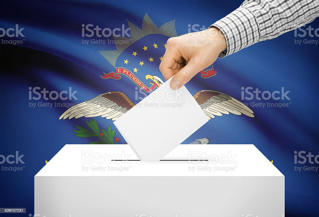 Ballot box with national flag on background - North Dakota stock photo
