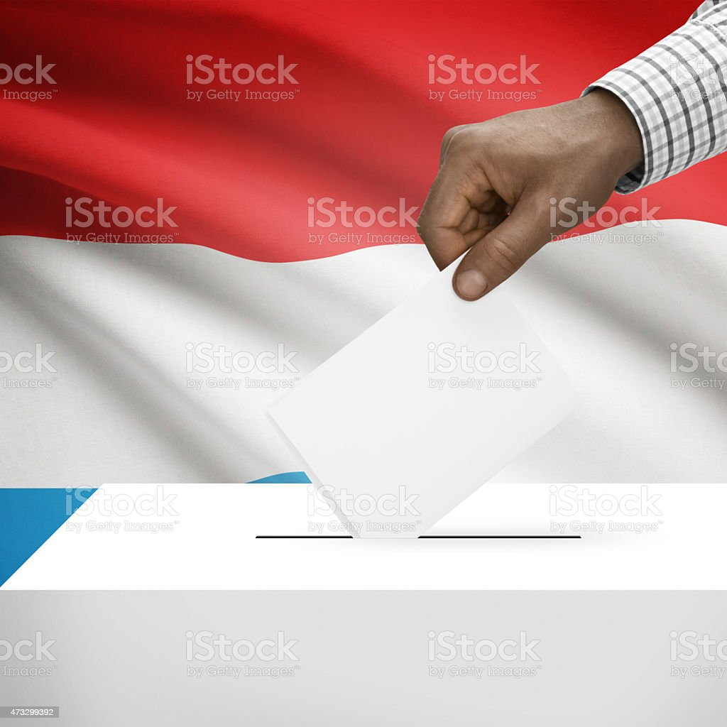 Ballot box with national flag on background series - Luxembourg stock photo