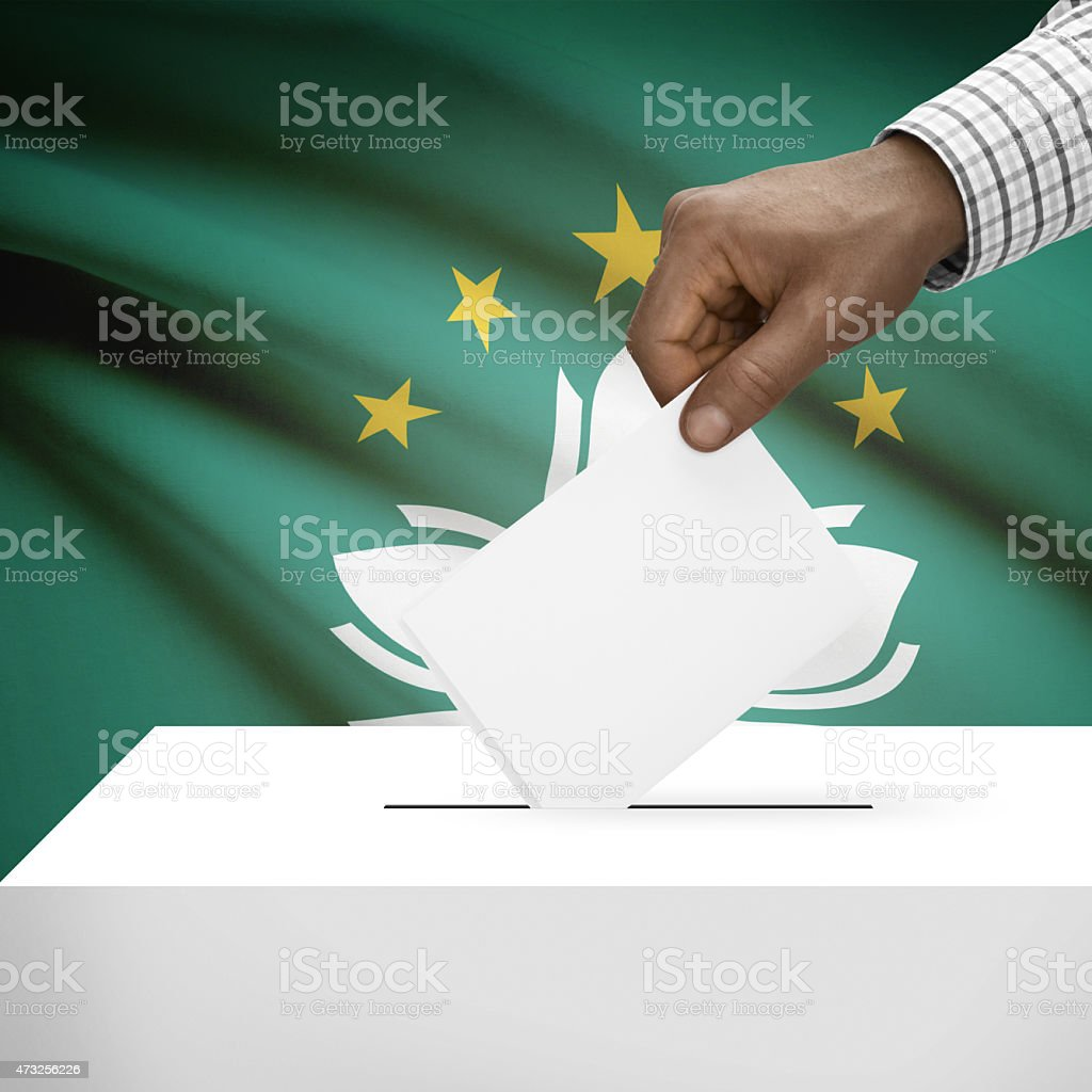 Ballot box with national flag on background series - Macau stock photo