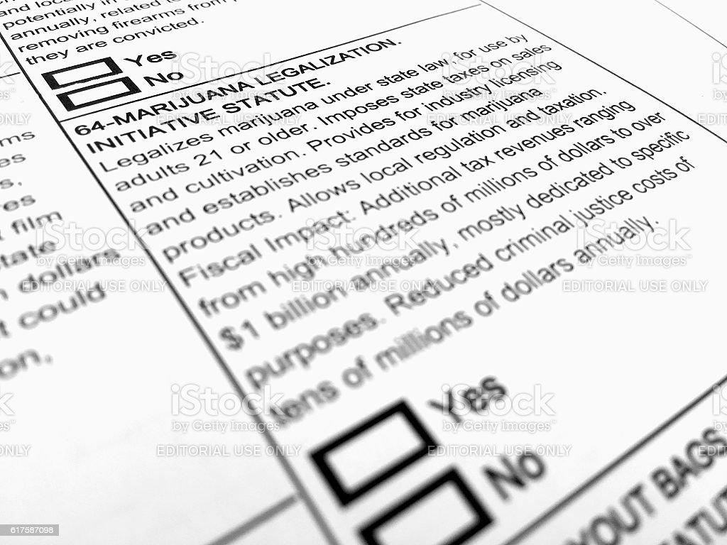 Ballot Form—Marijuana Legalization stock photo