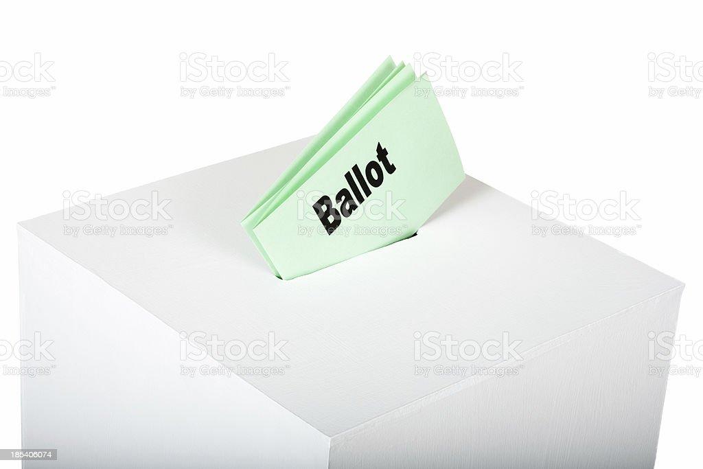 Ballot in a white voting box stock photo