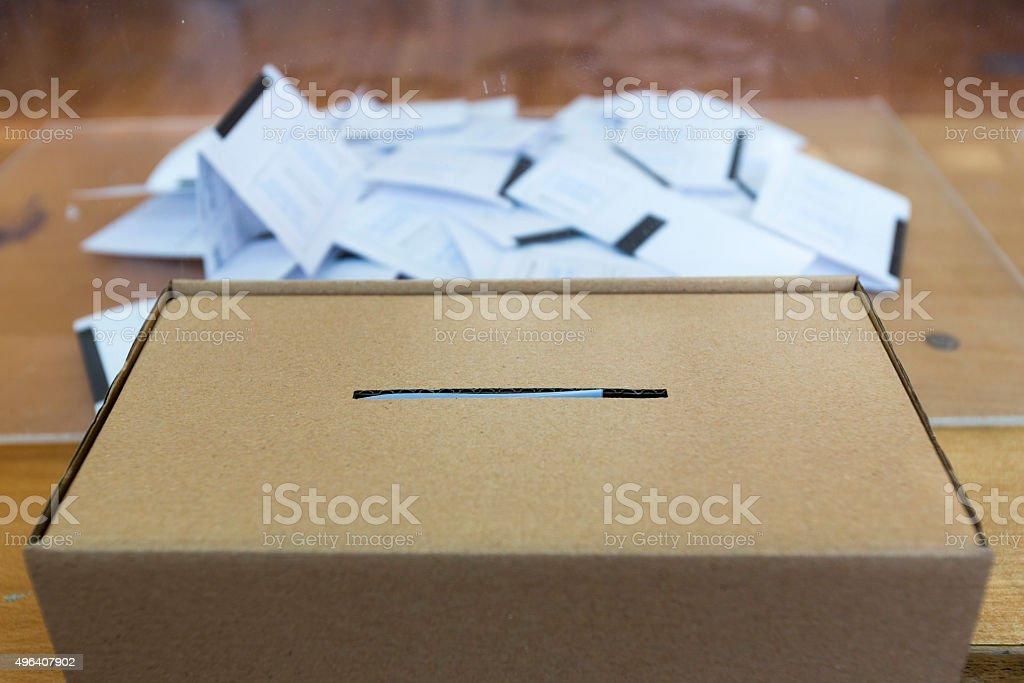 Ballot paper voting box stock photo