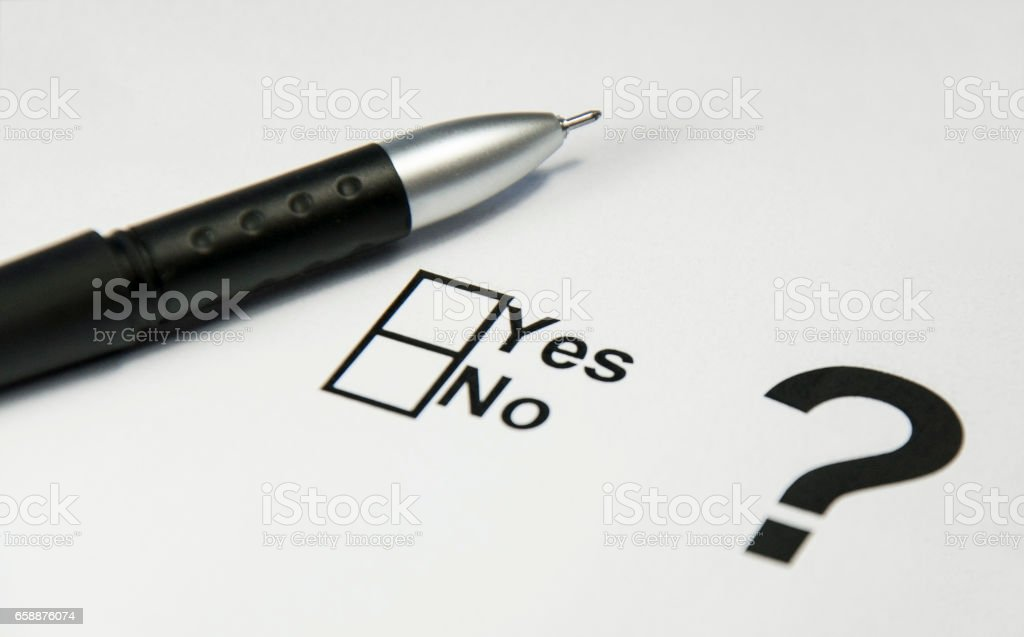 Balloten for voting, pen handle and question mark, choice stock photo