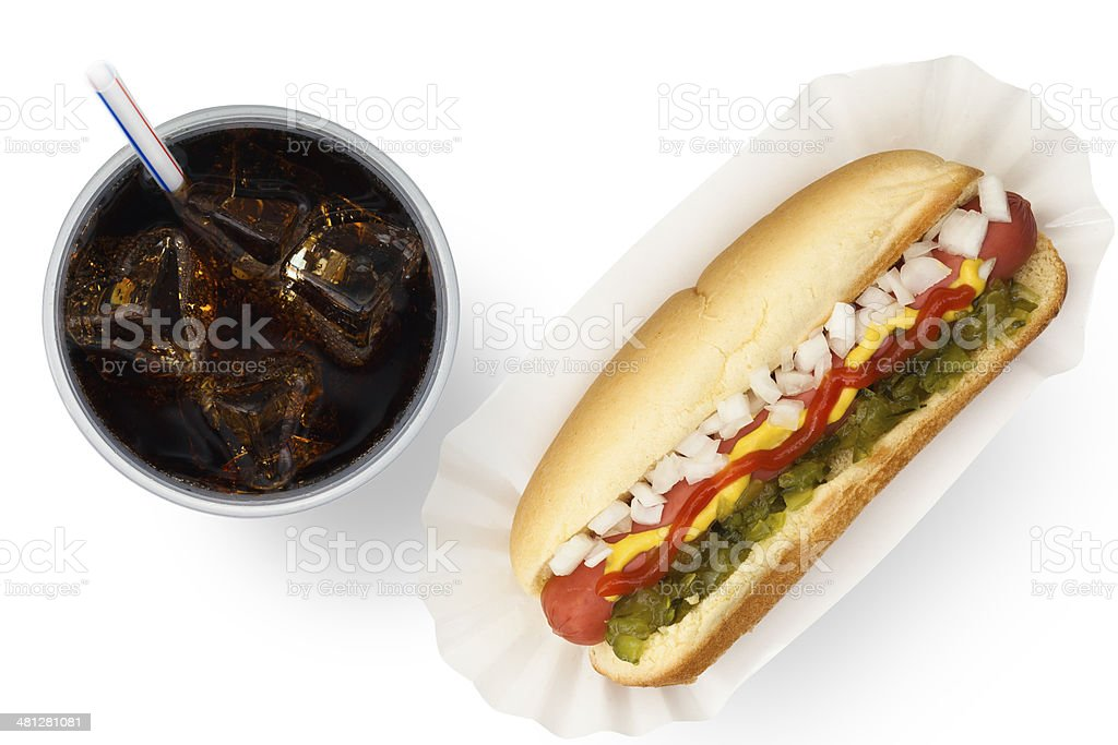 Ballpark Dog and Soda stock photo