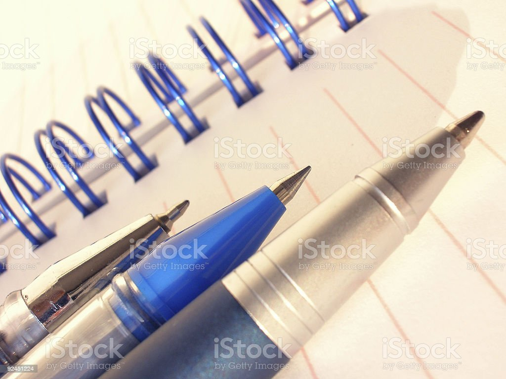Ballpens and Notebook royalty-free stock photo