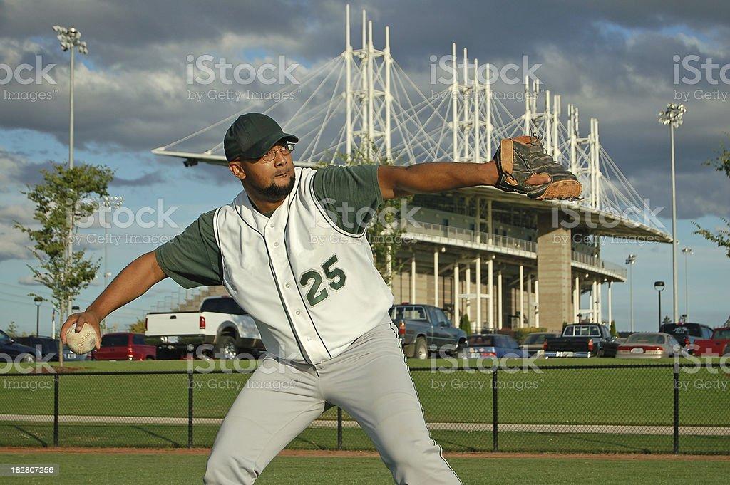 Ballplayer Throwing royalty-free stock photo