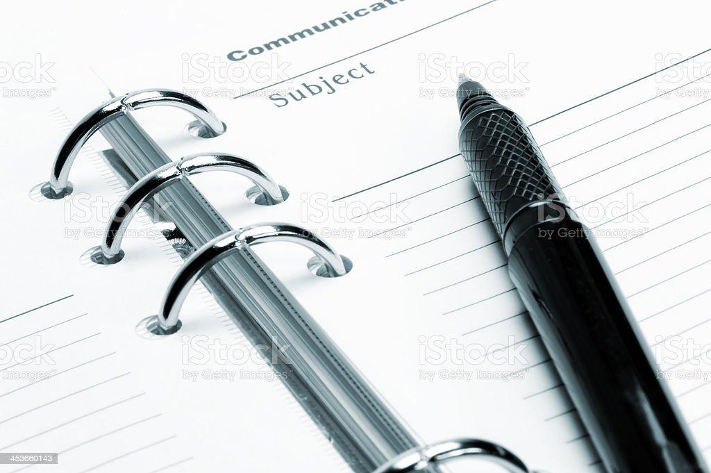 Ballpoint Pen is an open diary stock photo