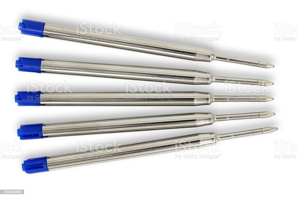 Ballpoint pen metal refill stock photo