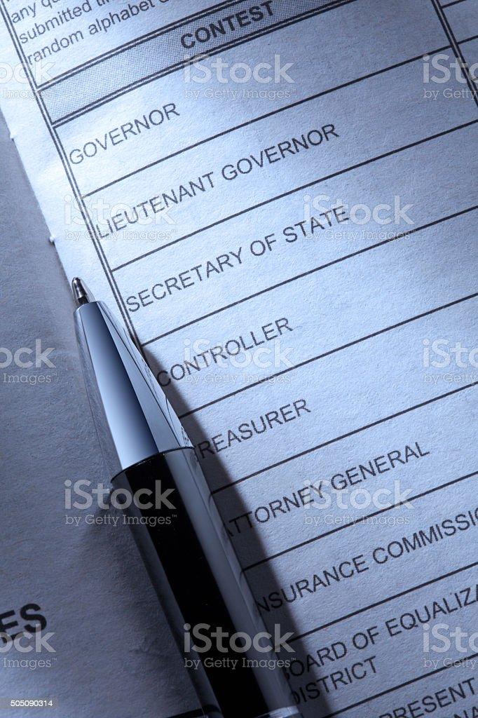 Ballpoint Pen Resting On A Voter's Ballot stock photo