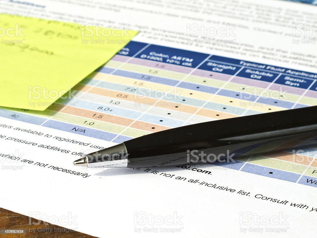Ballpoint pen with document stock photo